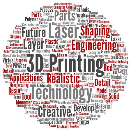개념 또는 개념적 3D 인쇄 크리 에이 티브 레이저 기술 단어 구름 배경에 고립