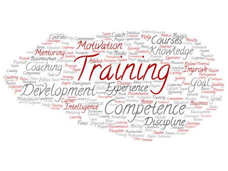 potential: Concept or conceptual training, coaching or learning, study word cloud isolated on background. Collage of mentoring, development, motivation skills, career, potential goals or competence text