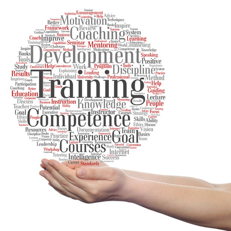 potential: Concept or conceptual training, coaching or learning, study word cloud in hands isolated