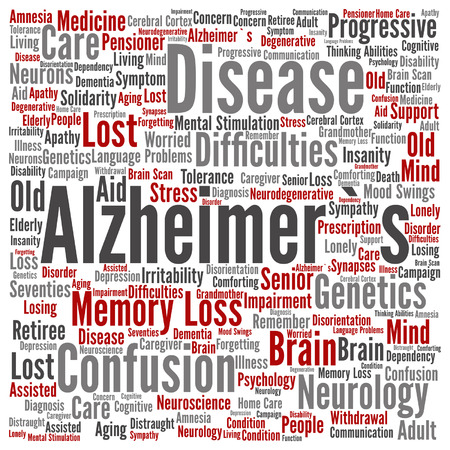 Conceptual Alzheimer`s disease symptoms abstract word cloud Illustration