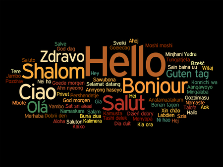 multilingual: Abstract hello or greeting international Illustration