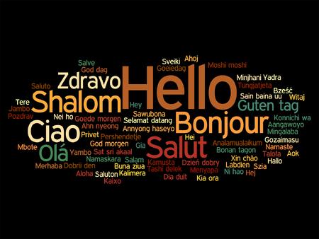 Abstract hello or greeting international Çizim