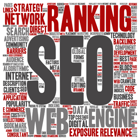 Vector concept conceptual search engine optimization, seo abstract square word cloud isolated on background metaphor to marketing, web, internet, strategy, online, rank, result,  network top relevance Ilustrace