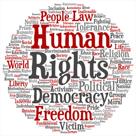 Human rights political freedom or democracy Illustration