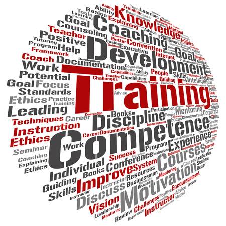 potential: Vector concept or conceptual training, coaching or learning, study word cloud isolated on background Illustration