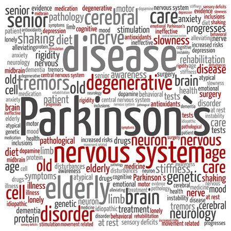 instability: Vector conceptual Parkinson`s disease healthcare or nervous system disorder word cloud isolated Illustration