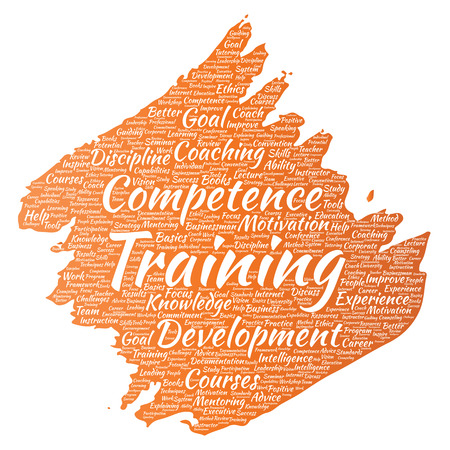 Vector conceptual training, coaching or learning, study paint brush word cloud isolated on background. Collage of mentoring, development, motivation skills, career, potential goals or competence
