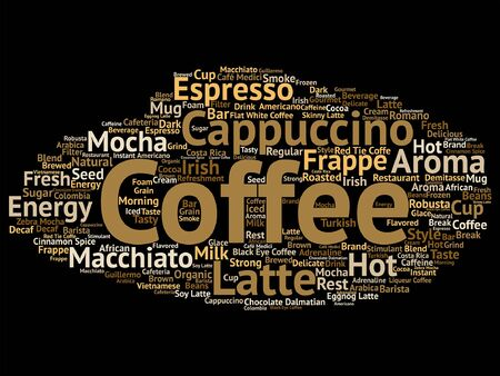 Vector concept conceptual creative hot coffee, cappuccino or espresso word cloud isolated Illustration