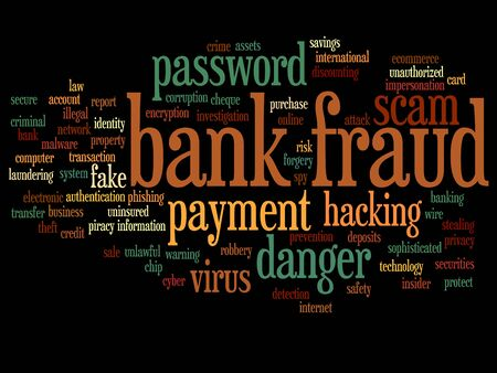 Concept or conceptual bank fraud payment scam danger word cloud isolated on background Stock Photo