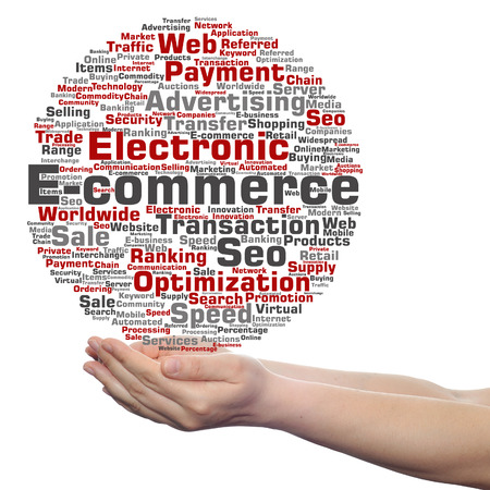 technology collage: Concept or conceptual E-commerce electronic sale word cloud in hands isolated on background