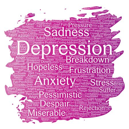 Conceptual depression or mental emotional disorder problem paint brush word cloud isolated background. Collage of anxiety sadness, negative sad, despair, unhappy, frustration symptom