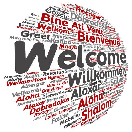 multilingual: International greetings in word cloud. Illustration