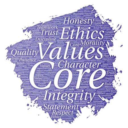 Vector conceptual core values integrity ethics paint brush concept word cloud isolated background. Collage of honesty quality trust, statement, character, perseverance, respect and trustworthy