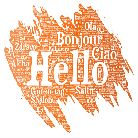 Greeting international tourism word cloud Illustration