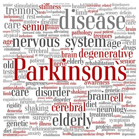 Parkinson`s disease healthcare word cloud Illustration
