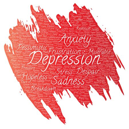 Depression problem paint brush word cloud