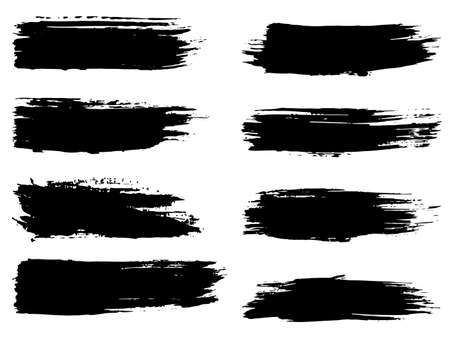 clutter: Collection of artistic grungy black paint hand made creative brush stroke set isolated on white background. A group of abstract grunge sketches for design education or graphic art decoration
