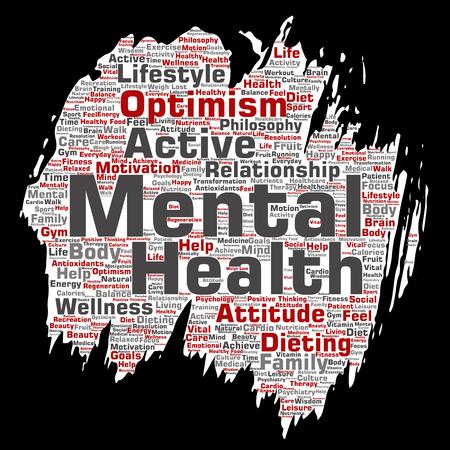 Vector conceptuele geestelijke gezondheid of positief denken verf borstel papier word cloud geïsoleerde achtergrond. Collage van optimisme, psychologie, geestgezondheidszorg, denken, houdingsbalans of motivatietekst