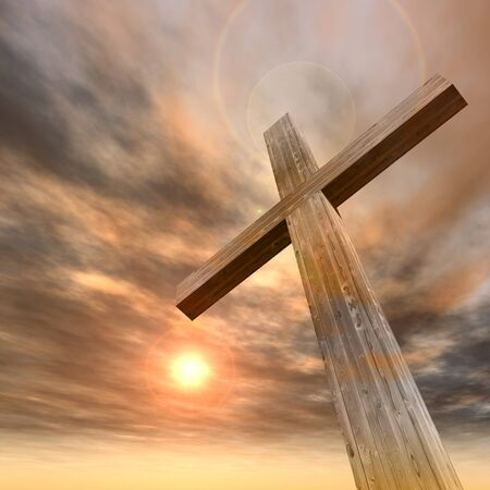 Concept or conceptual wood cross or religion symbol shape over a sunset sky with clouds background Stock Photo