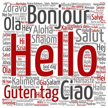 multilingual: Conceptual abstract hello or greeting international word cloud in different languages