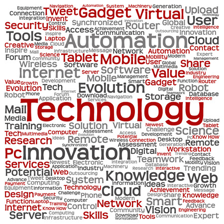 connection connections: Concept or conceptual digital smart technology, media word cloud isolated on background