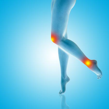 개념적 아름 다운 여자 또는 여자 다리와 발 상처 무릎 및 발목 통증이나 통증. 인간의 슬림 맞는 신체의 3D 일러스트 의료 건강 관리 개념, 파란색 배경 스톡 콘텐츠