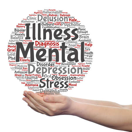 withdrawal: Concept conceptual mental illness disorder management or therapy  word cloud in hands isolated Stock Photo