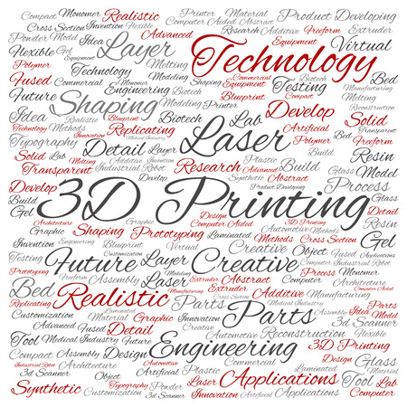 Concept or conceptual 3D printing creative laser technology word cloud isolated on background