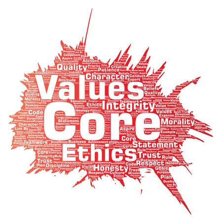 La nube conceptual de la palabra del concepto de la brocha de la ética de la integridad de los valores de la base del vector vector el fondo aislado Collage de honestidad, calidad, confianza, declaración, carácter, perseverancia, respeto y confianza