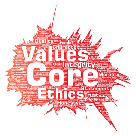 Vecteur des valeurs fondamentales d'intégrité éthique peinture pinceau concept mot nuage isolé fond. Collage d'honnêteté qualité confiance, affirmation, caractère, persévérance, respect et confiance