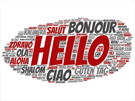 Abstract hello or greeting international word cloud Çizim