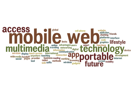 notebook: Mobile web portable multimedia technology word cloud
