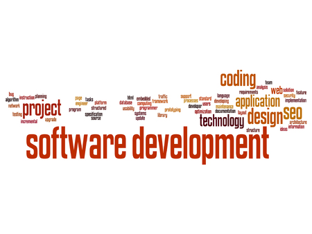 seo: Vector concept or conceptual software development project coding technology word cloud isolated on background Illustration