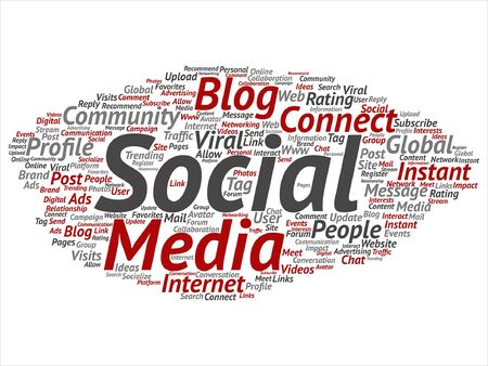 seo: Vector concept or conceptual social media marketing abstract word cloud isolated
