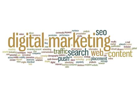 seo: Vector concept or conceptual digital marketing seo or traffic abstract word cloud isolated on background Illustration