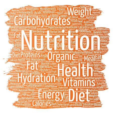 Nutrition health diet paint brush word cloud Illustration