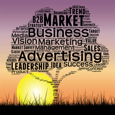Media business tree at sunset  word cloud Illustration