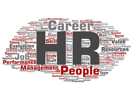 planning: Hr or human resources word cloud Illustration