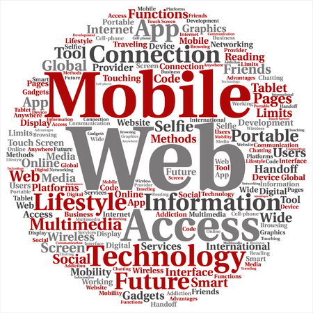 notebook: Conceptual mobile web portable multimedia technology, word cloud isolated on background Illustration