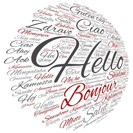 Conceptual abstract hello or greeting international, word cloud in different languages Çizim