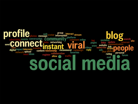 seo: Conceptual social media marketing abstract word cloud isolated on black