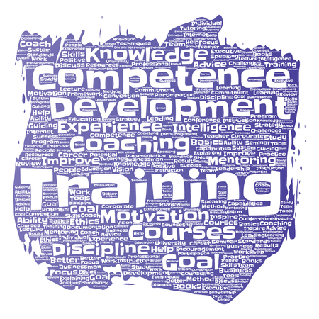 potential: Conceptual training, coaching or learning, study paint brush word cloud isolated on background ;Collage of mentoring, development, motivation skills, career, potential goals or competence