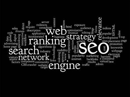 Conceptual search engine optimization, seo abstract word cloud isolated on black Illustration