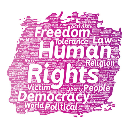 Vector conceptual human rights political freedom, democracy paint brush word cloud isolated background. Collage of humanity tolerance, law principles, people justice or discrimination concept