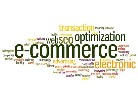 mobile marketing: Vector concept or conceptual E-commerce electronic sale word cloud isolated on background Illustration