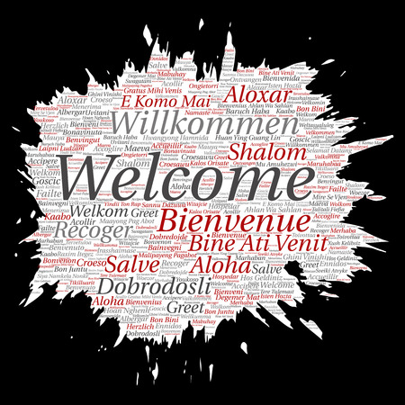 Vector conceptual abstract welcome or greeting international brush or paper word cloud in different languages or multilingual. Collage of world, foreign, worldwide travel, translate, vacation tourism Çizim