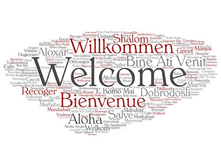 multilingual: Vector concept or conceptual welcome or greeting international word cloud in different languages or isolated