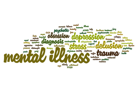 Vector conceptual mental illness disorder management or therapy word cloud isolated