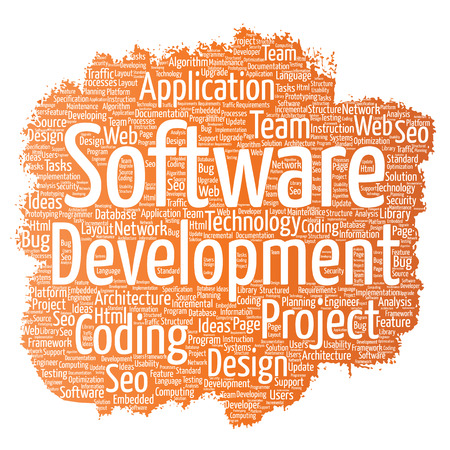 erp: Vector conceptual software development project coding technology paint brush word cloud isolated background. Collage of application web design, seo ideas, implementation, testing upgrade concept