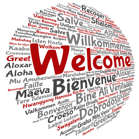 A Vector concept abstract welcome or greeting international word in different languages. 일러스트